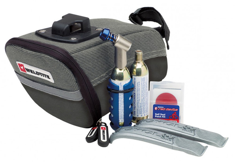 Weldtite Wedgebag Reparatur-Kit Tasche mit CO² Mini-Pumpe Flickzeug