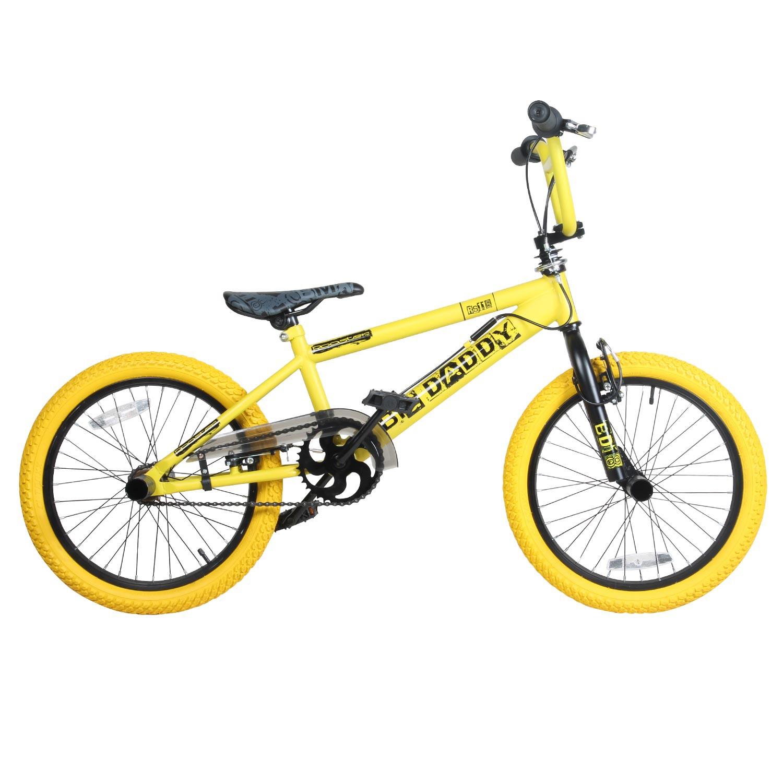 18 pouces bmx rooster big daddy rotor pat res noir jaune bike velo jeunes ebay. Black Bedroom Furniture Sets. Home Design Ideas