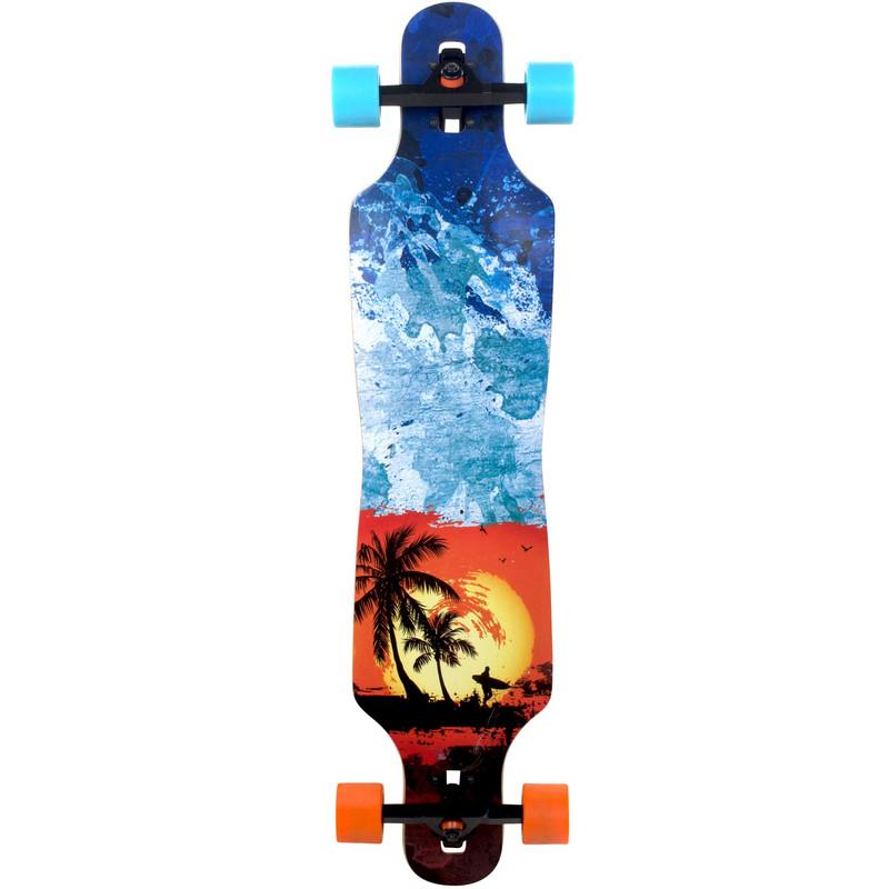 SlickStuff Malibu Longboard 101 cm Slick Freeride Drop Through Sunset Surfer Skateboard