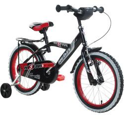 14 Zoll Hi5Rebel schwarz rot Kinderfahrrad mit Rücktritt Stützräder und Gepäckträger