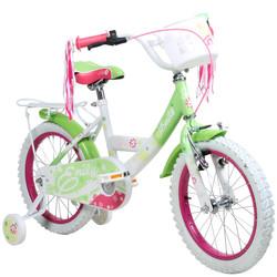 16 Zoll Hi5Emily weiß grün Kinderfahrrad mit Rücktritt Stützräder und Gepäckträger