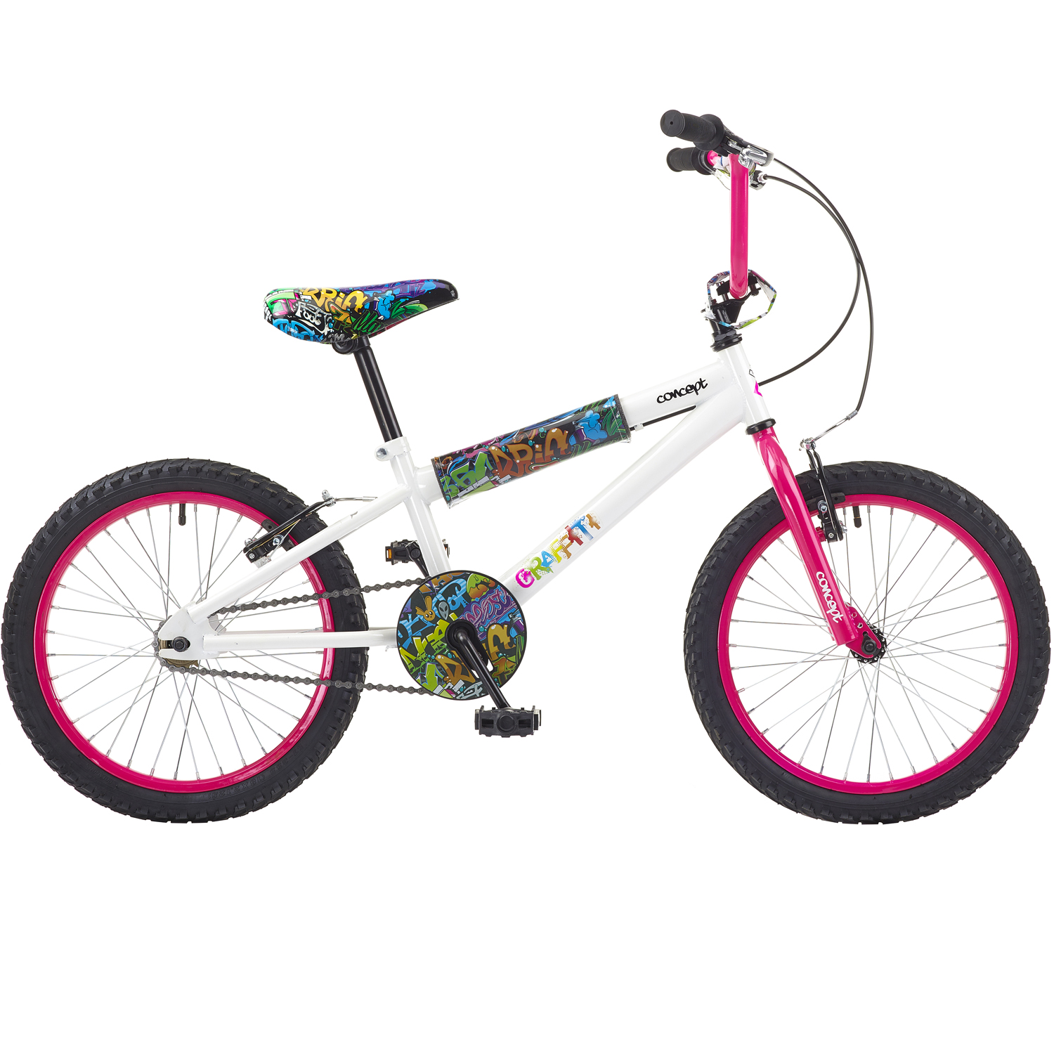 kinder bmx concept graffiti 18 zoll kinderfahrrad wei. Black Bedroom Furniture Sets. Home Design Ideas